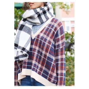 [Banana Republic]Mohair Wool Plaid V-Neck Sweater